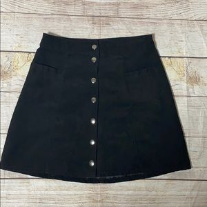 DIVIDED Snap Front Black Mini Skirt